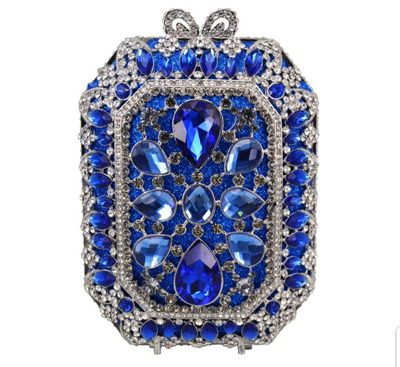 Squared Blue Crystal Embellished Clutch - Bhe Accessories