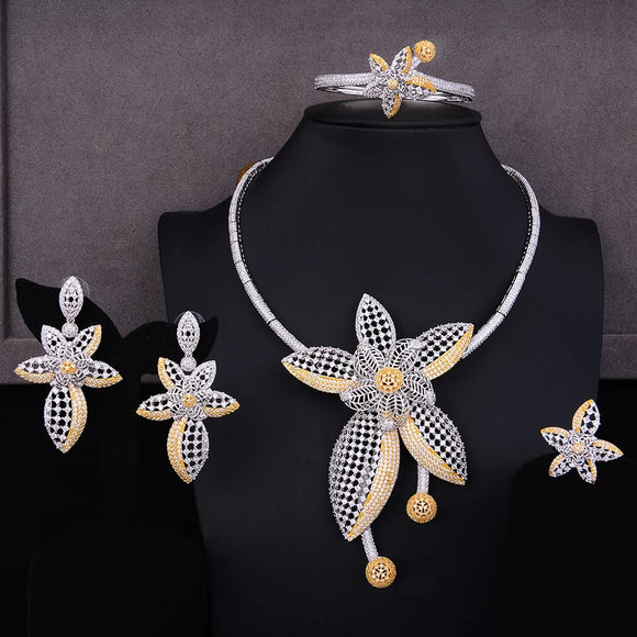 Luxury High End Floral Two Tone Cubic Zirconia 4 Piece Jewelry Set
