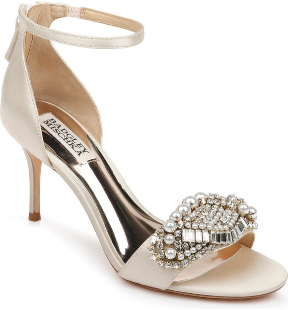 Badgley Mischka Odalis Embellished Ivory Satin Ankle Strap Sandal - Bhe Accessories