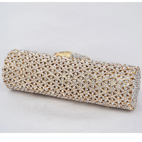 Long Gold Metal Casing Full Crystal Clutch