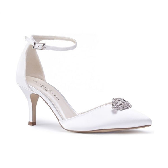 Pink By Paradox Alyssa Ivory Low Heel Jewelled Two-Part Court Shoe - Bhe Accessories