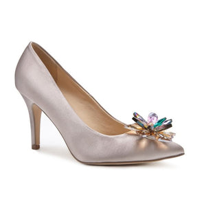 Pink By Paradox Cara Taupe High Heel Crystal Flower Glitter Covered Shoe - Bhe Accessories
