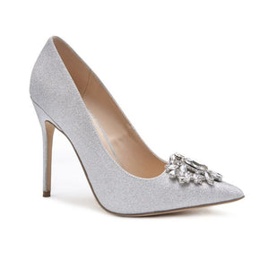 Pink By Paradox Cecily High Stiletto Jewelled Silver Court Shoe - Bhe Accessories