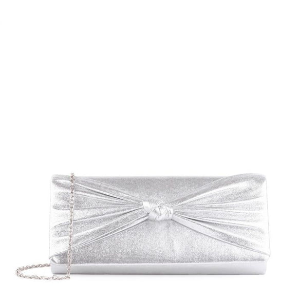 Paradox London Davina Silver Knotted Detail Clutch Bag