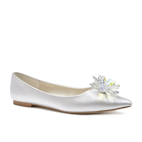 Pink by Paradox Florentina crystal flower Ivory flat shoe - Bhe Accessories