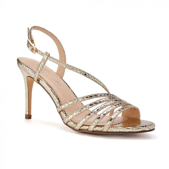 Paradox London Hailey Gold High Heel Snake Print Caged Sandal