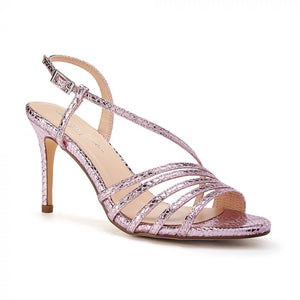 Paradox London Hailey Pink High Heel Snake Print Caged Sandal