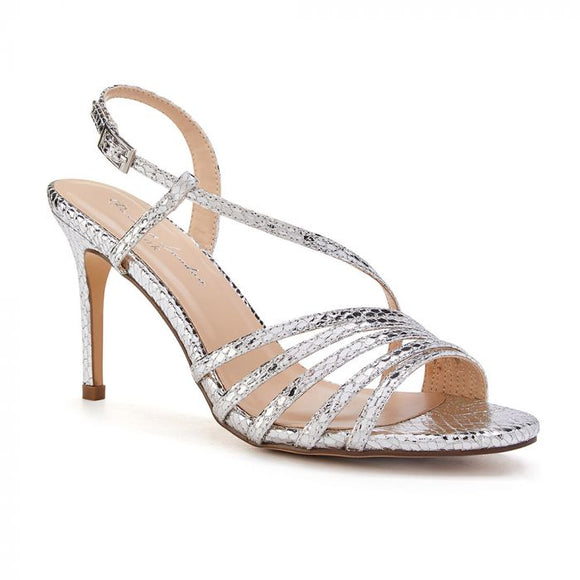 Paradox London Hailey Silver High Heel Snake Print Caged Sandal