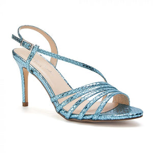 Paradox London Hailey Turquoise High Heel Snake Print Caged Sandal