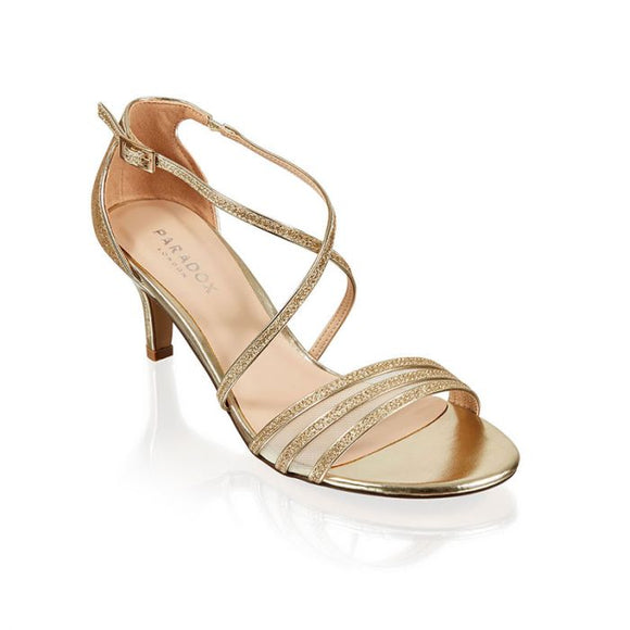 Paradox London Halima Champagne Glitter Cross Front Low Heel Sandal