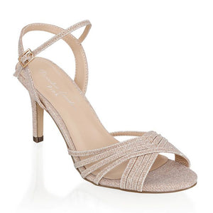 Paradox London Harsha Champagne Mid Heel Ankle Strap Sandals