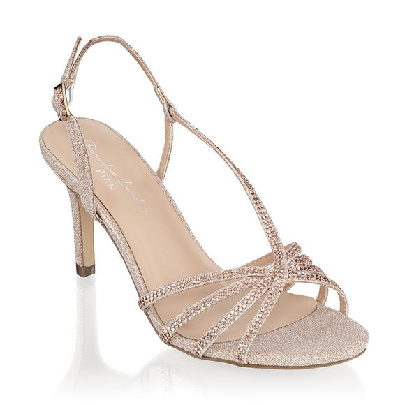 Paradox London Hattice Champagne Mid Heel Ankle Strap Caged Sandals - Bhe Accessories