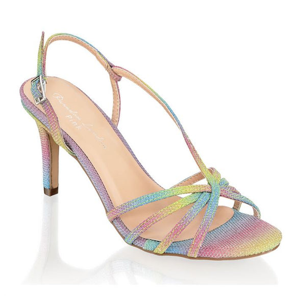 Paradox London Hattice Rainbow Mid Heel Ankle Strap Caged Sandals - Bhe Accessories