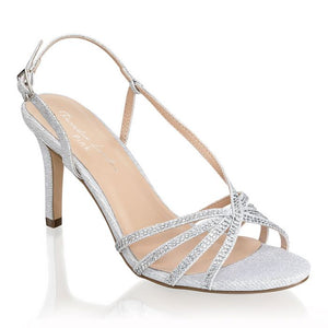 Paradox London Hattice Silver Mid Heel Ankle Strap Caged Sandals - Bhe Accessories