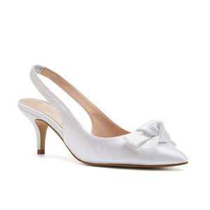 Paradox London Kaila Ivory Low Heel Slingback With Knot Detail