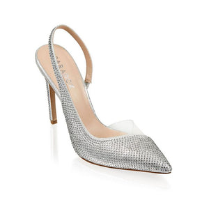 Paradox London Katia Silver Glitter Sling Back High Heel Court Shoe