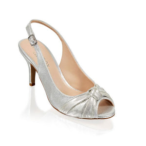 Paradox London Lexi Silver Knot Detail Peep Toe Sling Back Shoe