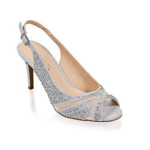 Paradox London Libra Silver Glitter Peep Toe Sling Back High Heel Sandal