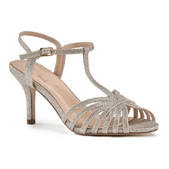 Pink By Paradox Maggie Champagne Low Heel Strappy Sandal - Bhe Accessories