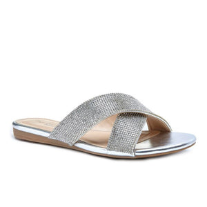 Pink By Paradox Natasha Silver Crystal Flat Slide Sandals - Bhe Accessories