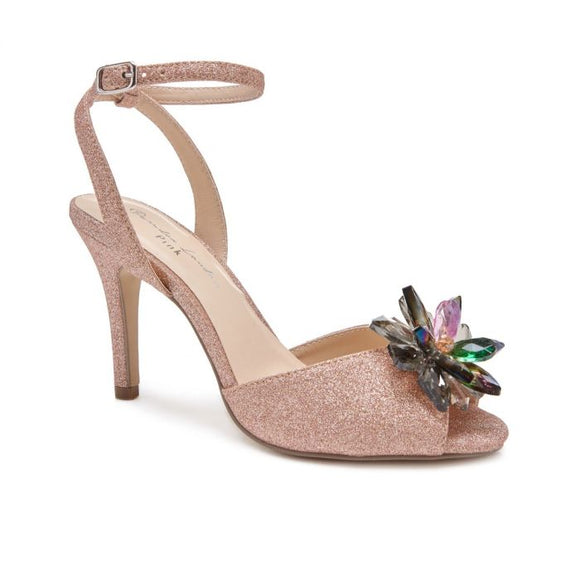 Pink By Paradox London Stephanie Crystal Flower Rosegold Heeled Sandal - Bhe Accessories