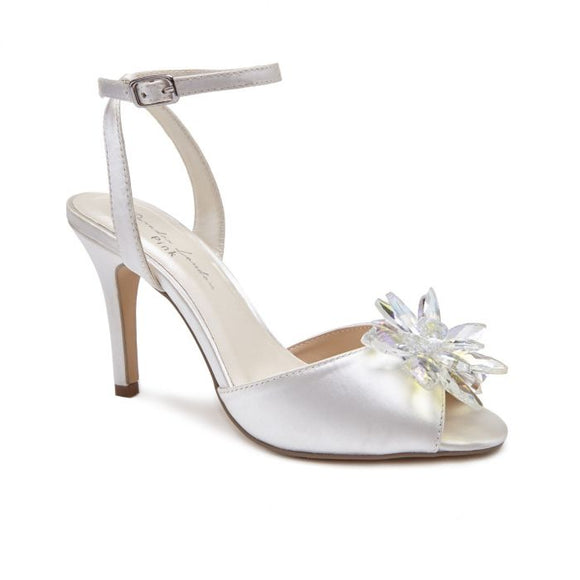 Pink By Paradox London Stephanie Crystal Flower Ivory Heeled Sandal - Bhe Accessories