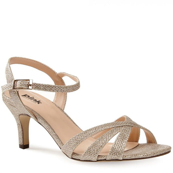 Pink By Paradox Shelby Champagne Low Heel Strappy Sandal - Bhe Accessories