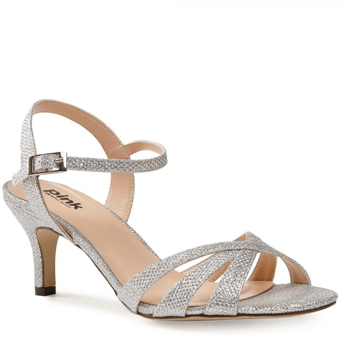 special for shoe the sale of shoes factory outlet Pink By Paradox Shelby Silver Low Heel Strappy Sandal