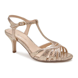Pink By Paradox Shelly Low Heel Pewter Gold Snake Print Sandal - Bhe Accessories