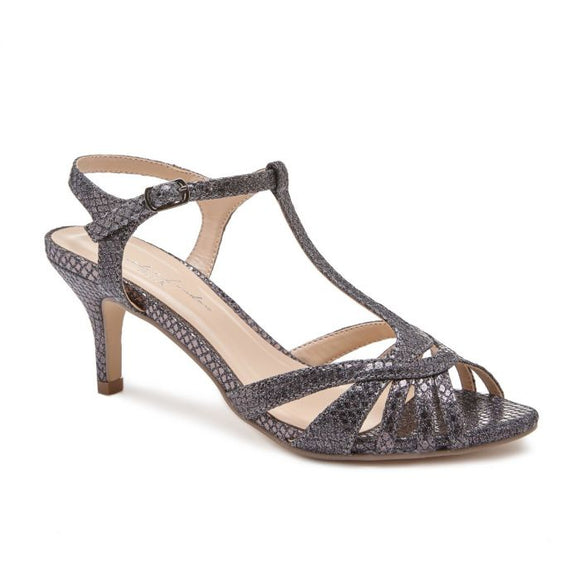 Pink By Paradox Shelly Low Heel Pewter Black Snake Print Sandal - Bhe Accessories