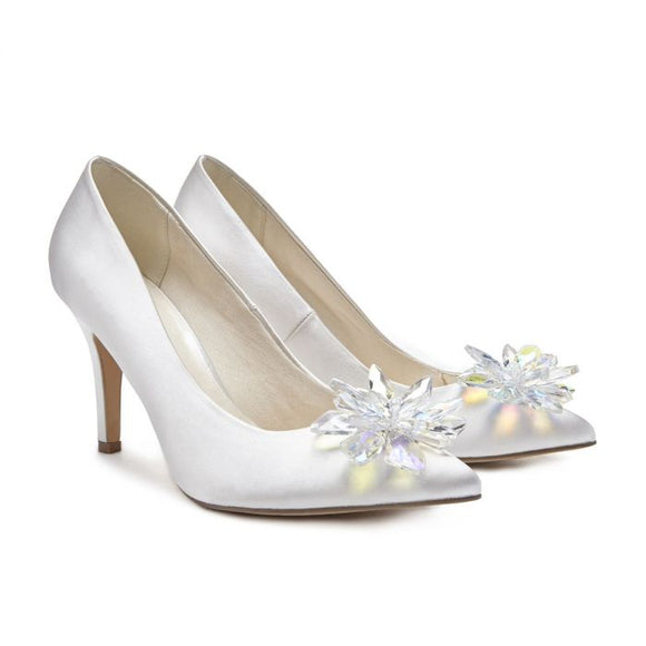 Pink By Paradox Cara Ivory High Heel Crystal Flower Glitter Covered Shoe - Bhe Accessories