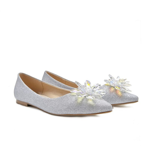 Pink by Paradox Florentina crystal flower silver Flat shoe - Bhe Accessories