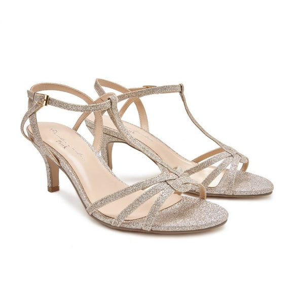 Pink By Paradox Lennon Wide Fit Low Heel Champagne Shimmer Sandal - Bhe Accessories