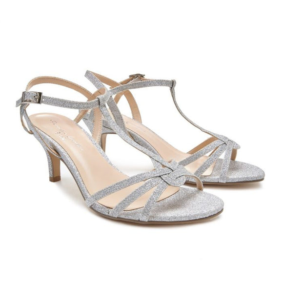 Pink By Paradox Lennon Wide Fit Low Heel Silver Shimmer Sandal - Bhe Accessories