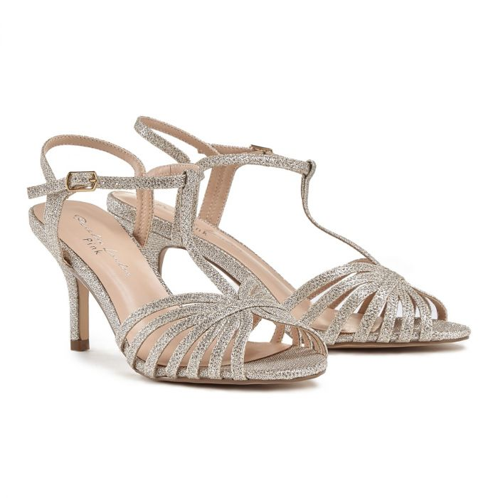 best shoes best prices buy Pink By Paradox Maggie Champagne Low Heel Strappy Sandal