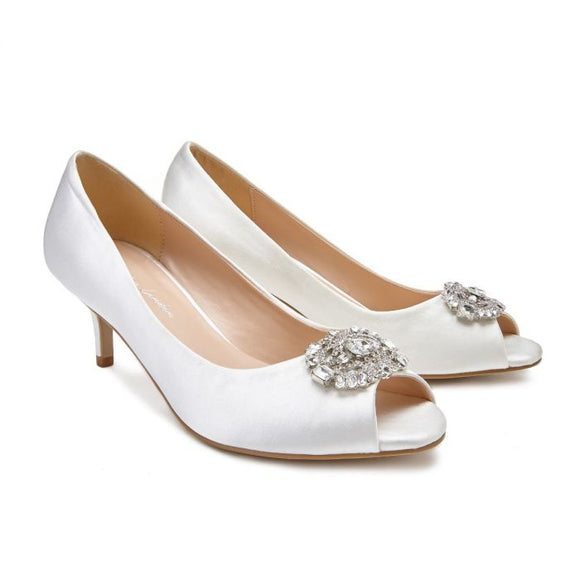 Pink By Paradox Prunella Low Heel Peep Toe Ivory Court Shoe - Bhe Accessories