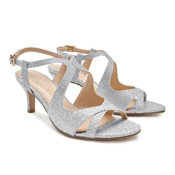 Pink By Pardox Sara Silver Low Heel Crossover Sandal - Bhe Accessories