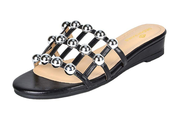 Women's Low Wedge Studded Slippers - Bhe Accessories