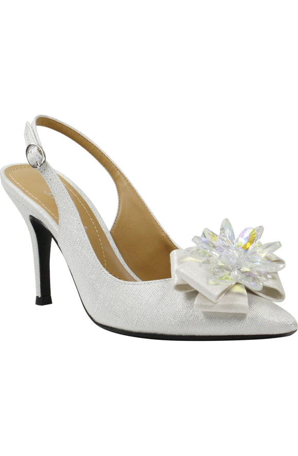 J. RENEÉ Denyell Crystal Ornament White/Silver Glitter Fabric Slingback Pump - Bhe Accessories