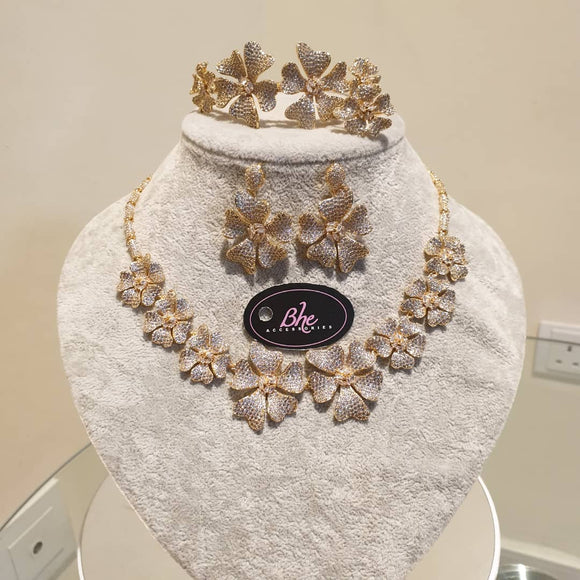 Bhe Acessories Floral Cubic Zirconia 4 Pieces Jewellery Set