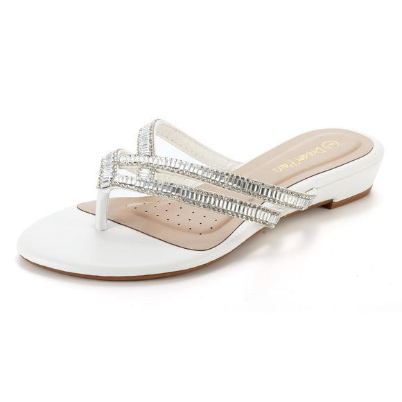 Women's Jewel White Flip-Flop Double Strap Slippers - Bhe Accessories