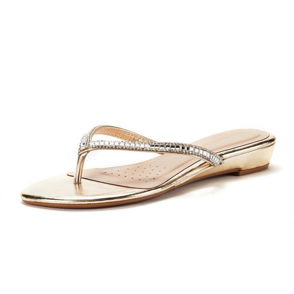 Women's Embellished Gold Sandals - Bhe Accessories