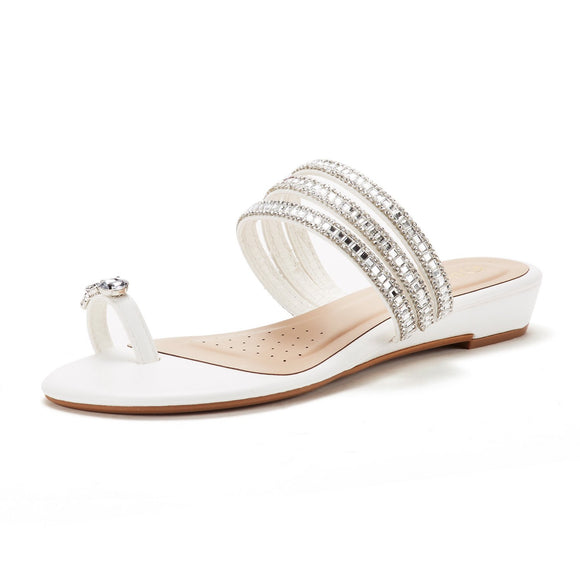 DREAM PAIRS Women's Jewel White Flip-Flop Sandals - Bhe Accessories