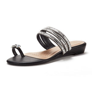 Women's Embellished Black Toe Post Wedge Slippers - Bhe Accessories