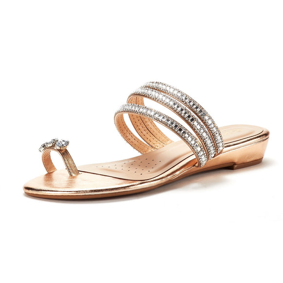 Women's Embellished Toe Post Low Wedge Slippers - Bhe Accessories