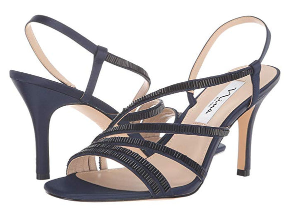 Nina Womens Navy Amani Slingback Strap Sandals - Bhe Accessories