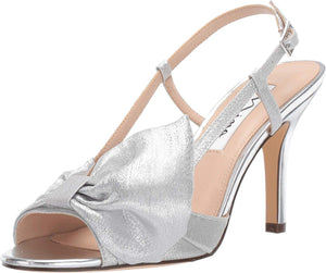 NINA Women's Viana Silver Bow Mid Heel Sandal - Bhe Accessories