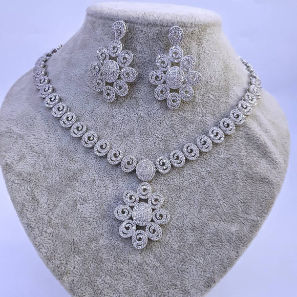 4 Piece Petal Cubic Zircona Jewelry Set - Bhe Accessories