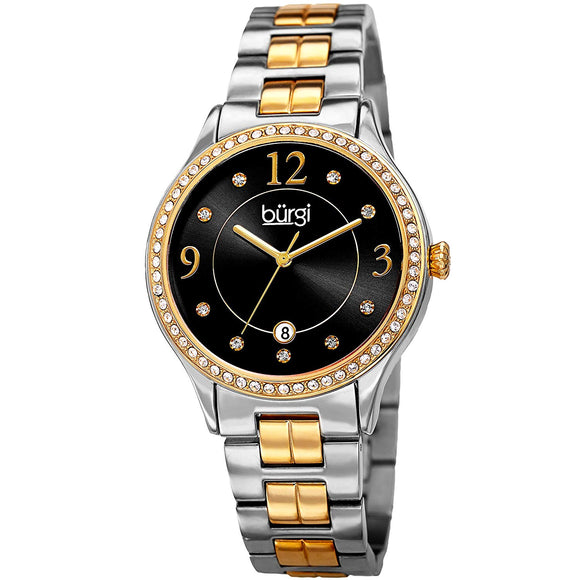 Burgi Women's Quartz Swarovski Crystal Accented Black and Gold-Tone/Silver-Tone Bracelet Watch - BUR180TTG - Bhe Accessories