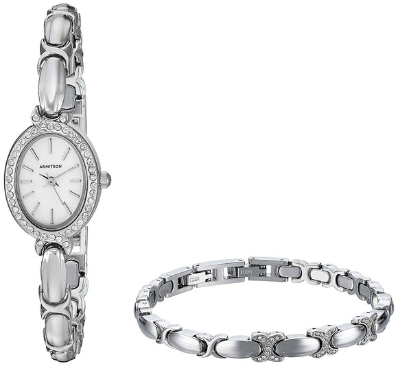 Armitron Women's 75/5395MPSVST Swarovski Crystal Accented Silver-Tone Watch and Bracelet Set - Bhe Accessories